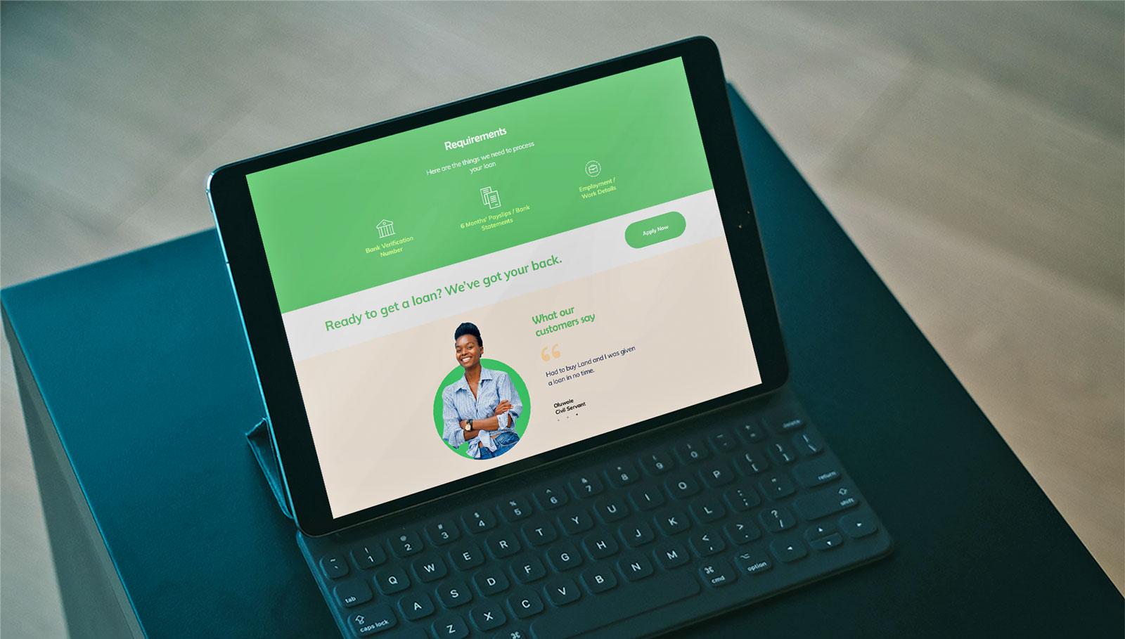 efinance ipad screenshot of loan origination web app by unotech media Nigeria