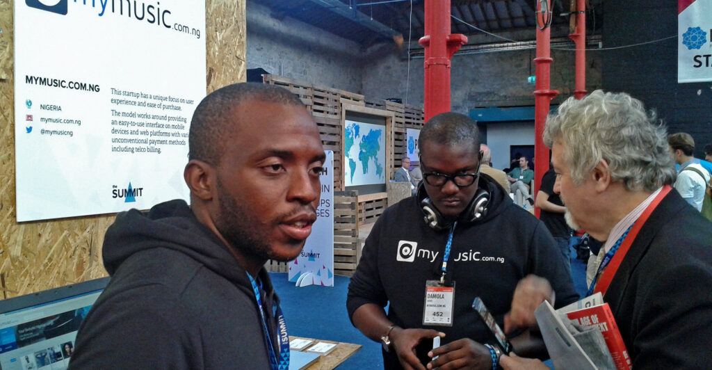 Damola Taiwo of MyMusic.com.ng withShel Israel of Age of Context at Dublin Web Summit 2013